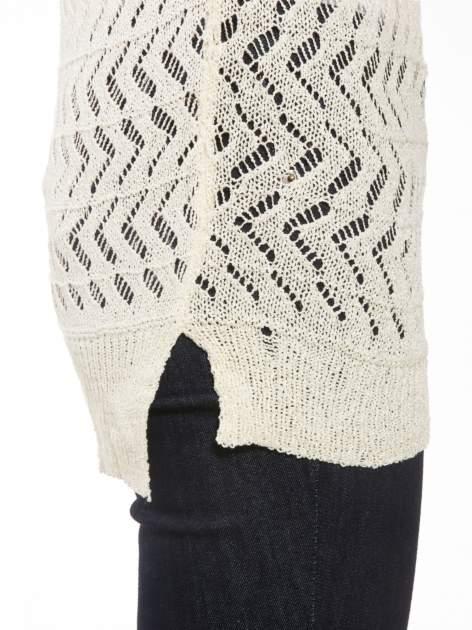 Ecru ażurowy dłuższy sweter                                  zdj.                                  7