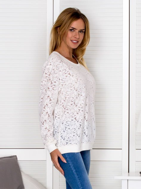 Ecru bluza z ażurowym motywem kwiatowym                                  zdj.                                  5