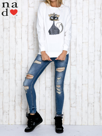 Ecru bluza z cekinowym kotem                                  zdj.                                  2