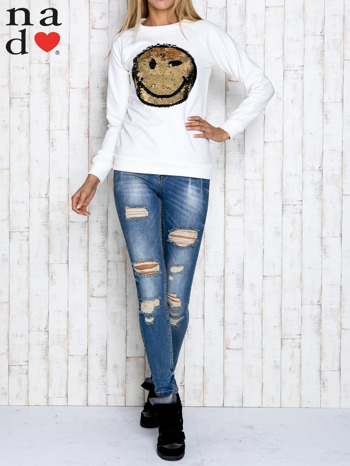 Ecru bluza z dwustronną naszywką z cekinów                                  zdj.                                  2