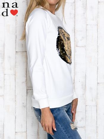 Ecru bluza z dwustronną naszywką z cekinów                                  zdj.                                  3
