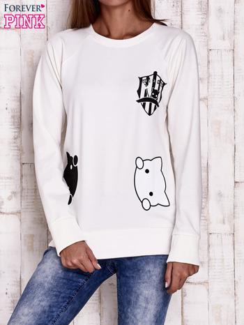 Ecru bluza z kocimi motywami                                  zdj.                                  1