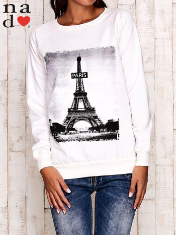Ecru bluza z motywem Wieży Eiffla                                  zdj.                                  1