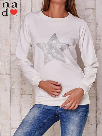 Ecru bluza z nadrukiem gwiazdy                                  zdj.                                  1