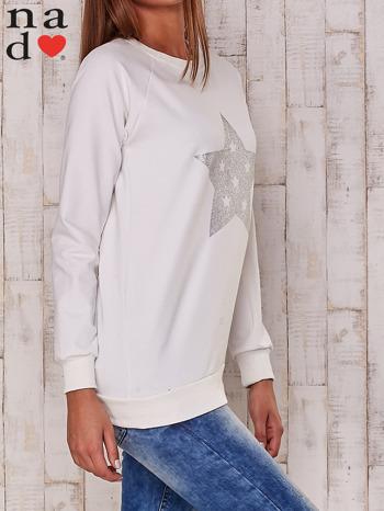 Ecru bluza z nadrukiem gwiazdy                                  zdj.                                  3