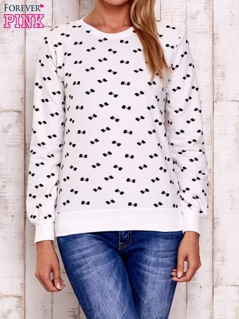 Ecru bluza z nadrukiem kokardek                                  zdj.                                  2