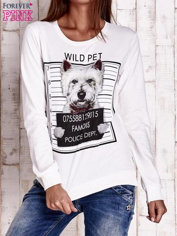 Ecru bluza z nadrukiem psa                                  zdj.                                  1