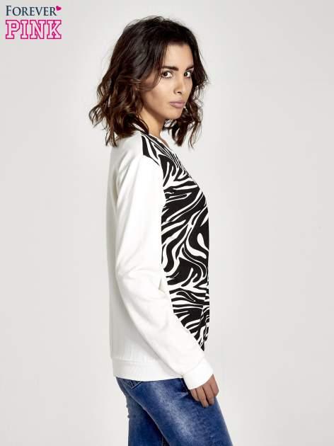 Ecru bluza z nadrukiem zebra print                                  zdj.                                  3
