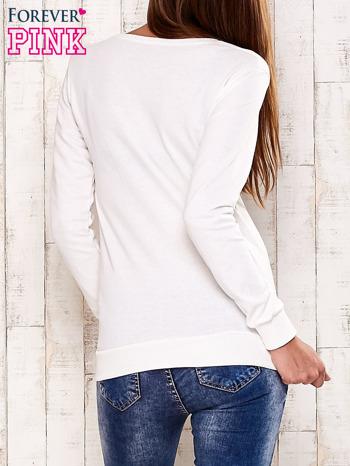 Ecru bluza z napisem GET YOUR HAPPY ON                                  zdj.                                  4