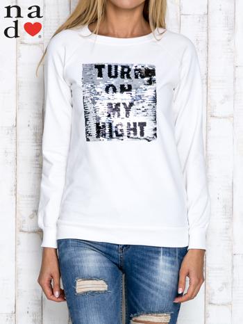 Ecru bluza z podwójną naszywką z cekinów