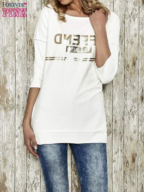 Ecru bluza ze złotym napisem i suwakiem