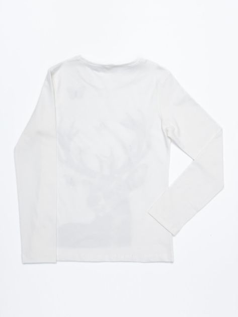 Ecru bluzka bawełniana z nadrukiem jelenia i motylkami                              zdj.                              4