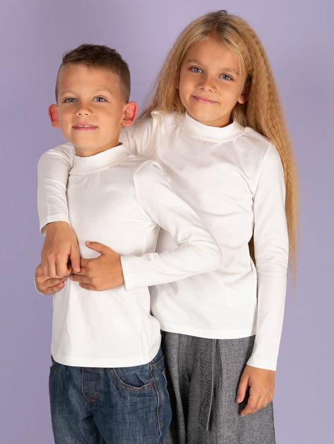Ecru bluzka dziecięca z półgolfem                               zdj.                              1