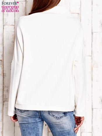 Ecru bluzka oversize z troczkami                                  zdj.                                  3