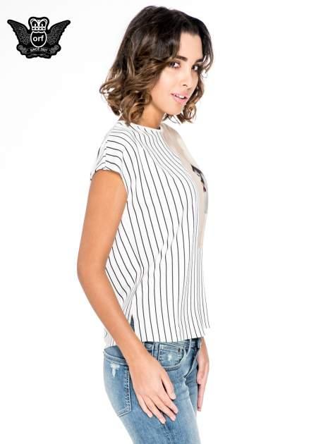 Ecru bluzka w paski z satynową wstawką                                  zdj.                                  4