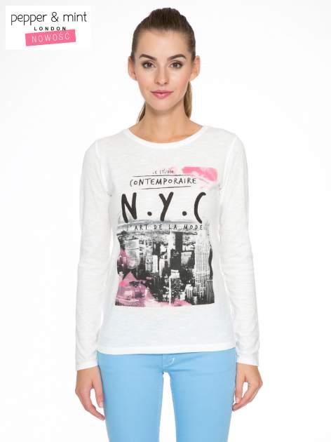 Ecru bluzka z nadrukiem NEW YORK CITY                                  zdj.                                  1