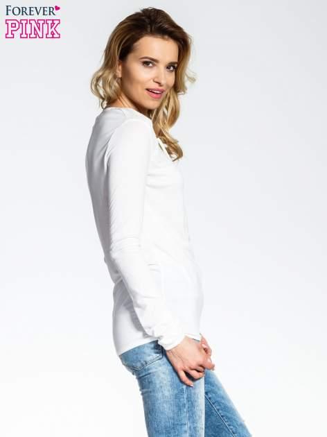 Ecru bluzka z wiązaną łezką z przodu                                  zdj.                                  3