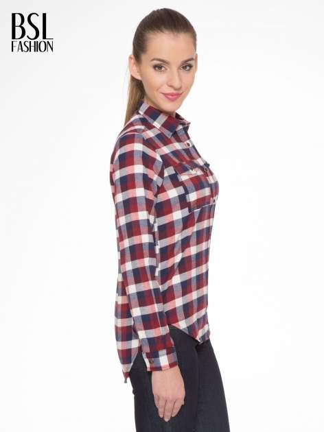 Ecru-bordowa damska koszula w kratę z kieszonkami                                  zdj.                                  3