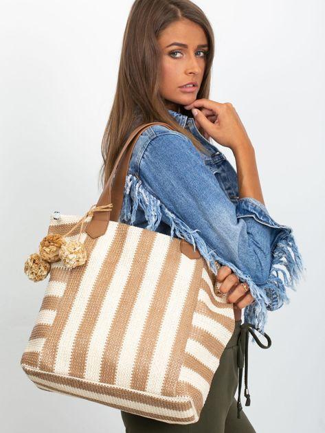 Ecru-brązowa torba w paski                              zdj.                              1