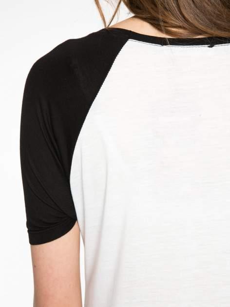 Ecru-czarny t-shirt z nadrukiem NEW YORK CITY 1983                                  zdj.                                  9