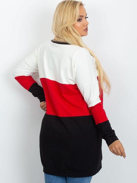 Ecru-czerwona tunika plus size Bease                              zdj.                              2