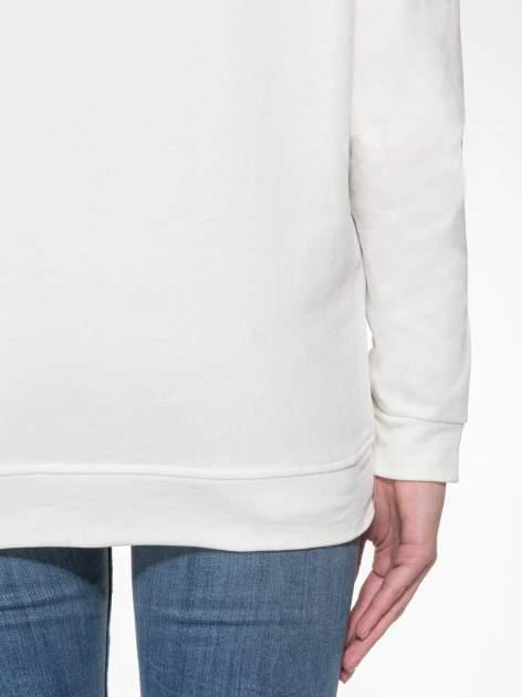 Ecru długa bluza ze ściąganym kapturokominem                                  zdj.                                  9