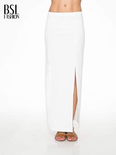 Ecru długa spódnica maxi z dwoma rozporkami z boku                                  zdj.                                  1