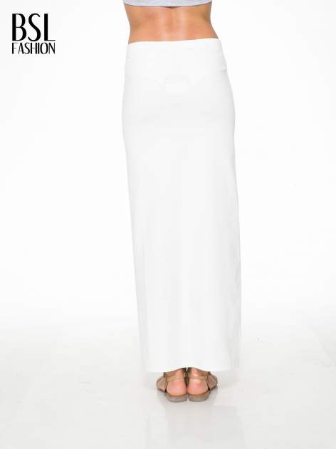 Ecru długa spódnica maxi z dwoma rozporkami z boku                                  zdj.                                  4