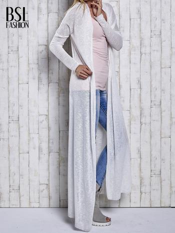 Ecru długi sweter wzór melanżowy                                  zdj.                                  4