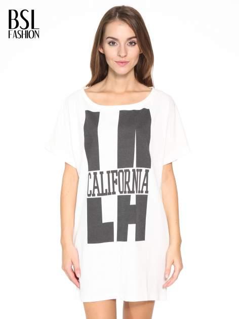 Ecru długi t-shirt z nadrukiem LA CALIFORNIA                                  zdj.                                  1