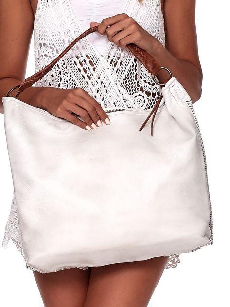 Ecru duża torba z ażurowaniem i odpinanym paskiem                              zdj.                              4