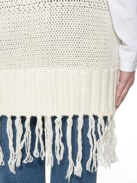 Ecru dziergany długi sweter kardigan z frędzlami na dole                                  zdj.                                  10