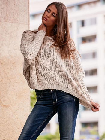 Ecru dziergany sweter oversize FUNK N SOUL                                  zdj.                                  6