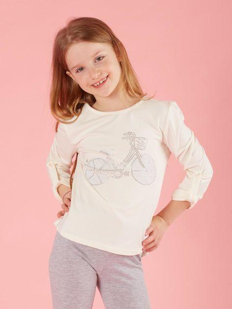Ecru dziewczęca bluzka z aplikacją                              zdj.                              1