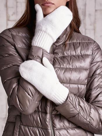 Ecru gładkie rękawiczki z jednym palcem                                  zdj.                                  2