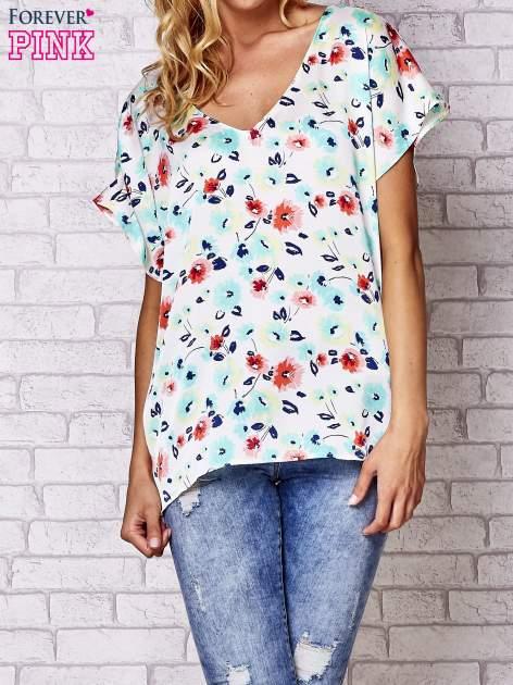 Ecru koszula damska z kwiatowym nadrukiem                                  zdj.                                  1