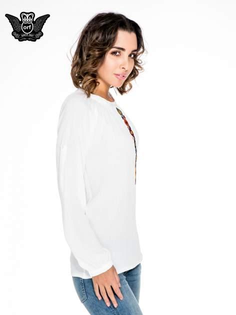 Ecru koszula z marszczonym dekoltem i wzorzystą wstawką w stylu hippie                                  zdj.                                  3