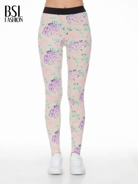 Ecru legginsy we wzór floral print z elastyczną gumą w pasie                              zdj.                              1