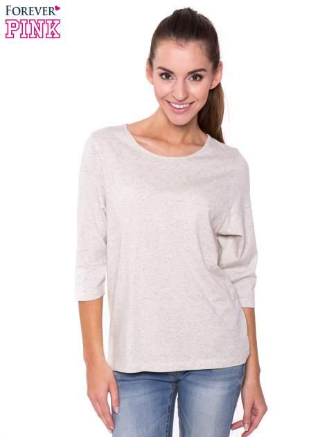 Ecru melanżowa bluzka basic z rękawem 3/4                                  zdj.                                  1