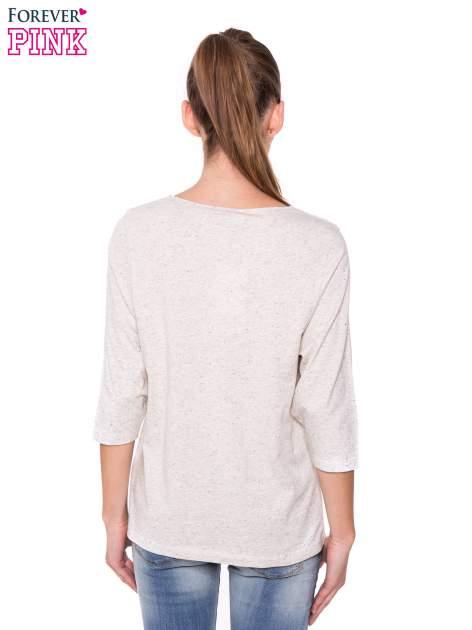 Ecru melanżowa bluzka basic z rękawem 3/4                                  zdj.                                  3