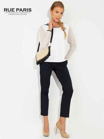 Ecru pikowana bluza z siateczkowymi rękawami                                  zdj.                                  1