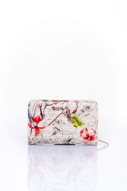 Ecru portfel z kwiatowym nadrukiem                                  zdj.                                  2