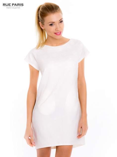 Ecru prosta sukienka tłoczona w róże z suwakiem z tyłu                                  zdj.                                  3