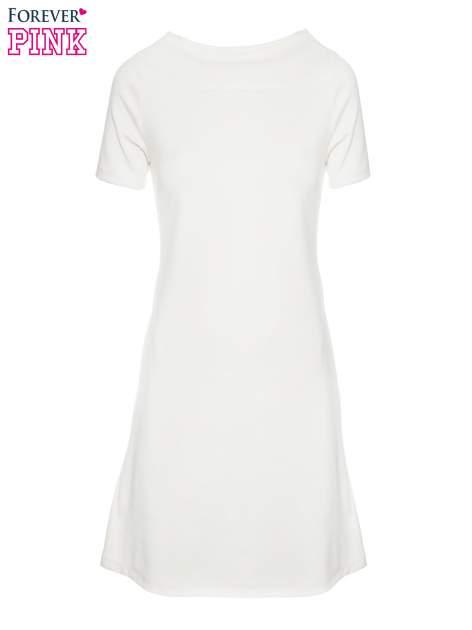 Ecru prosta sukienka z półgolfem                                  zdj.                                  5