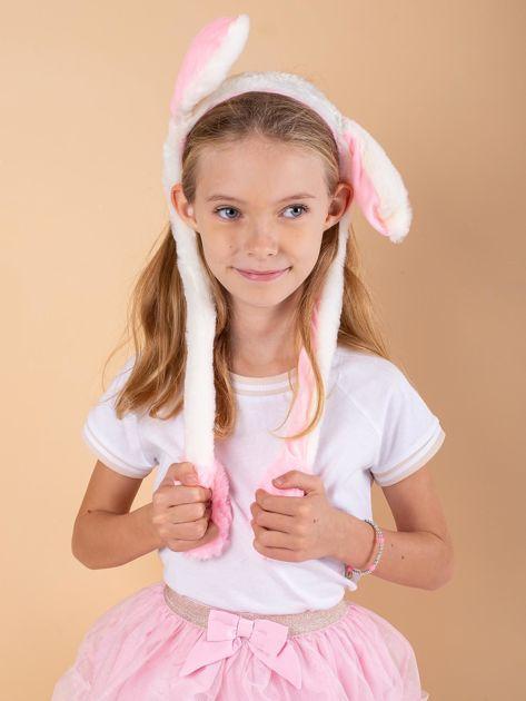 Ecru-różowa pluszowa opaska