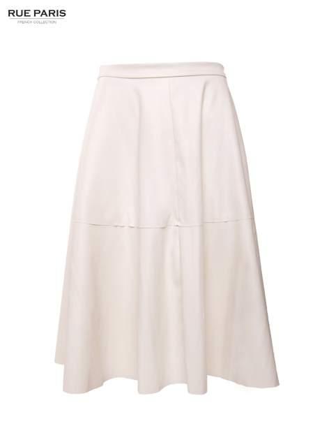 Ecru skórzana spódnica midi szyta z półkola                                  zdj.                                  2
