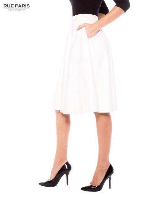 Ecru skórzana spódnica midi szyta z półkola                                  zdj.                                  3