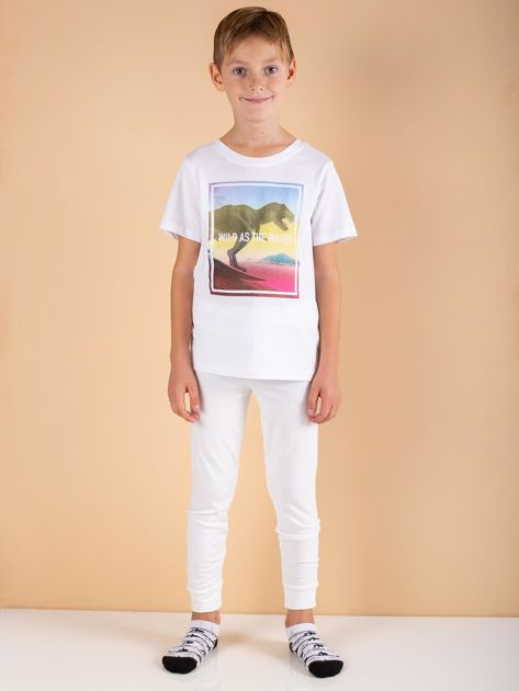 Ecru spodnie termoaktywne dla chłopca