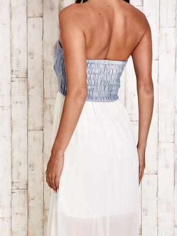 Ecru sukienka maxi z gorsetem z denimu                                  zdj.                                  5