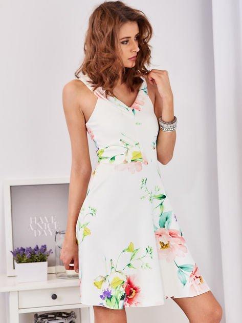 Ecru sukienka w kolorowe kwiaty                              zdj.                              7